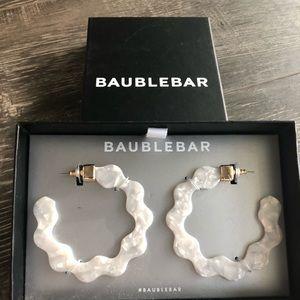 Baublebar white hoop earrings